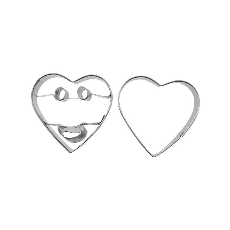d coupoir smiley coeur 6 cm emporte pi ce sourire en inox. Black Bedroom Furniture Sets. Home Design Ideas