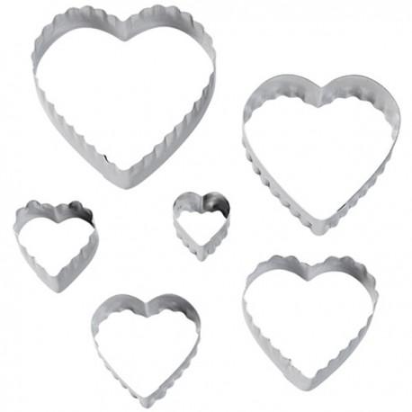 Lot 6 Emporte-pièces Coeur Double Face