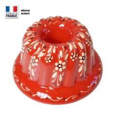 Moule à Kouglof Rouge 24 cm Décor Fleurs Blanches