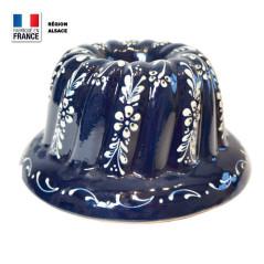 Moule à Kouglof Bleu 24 cm Décor Fleurs Blanches