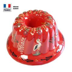 Moule à Kouglof Rouge 26 cm avec Décor Cigogne