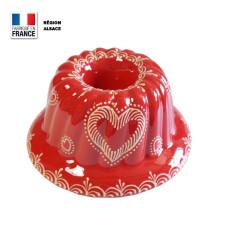Moule à Kouglof Rouge Décor Coeur 24 cm