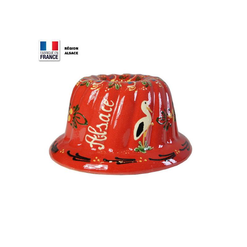 Moule à Kouglof Rouge 20 cm Décor Cigogne