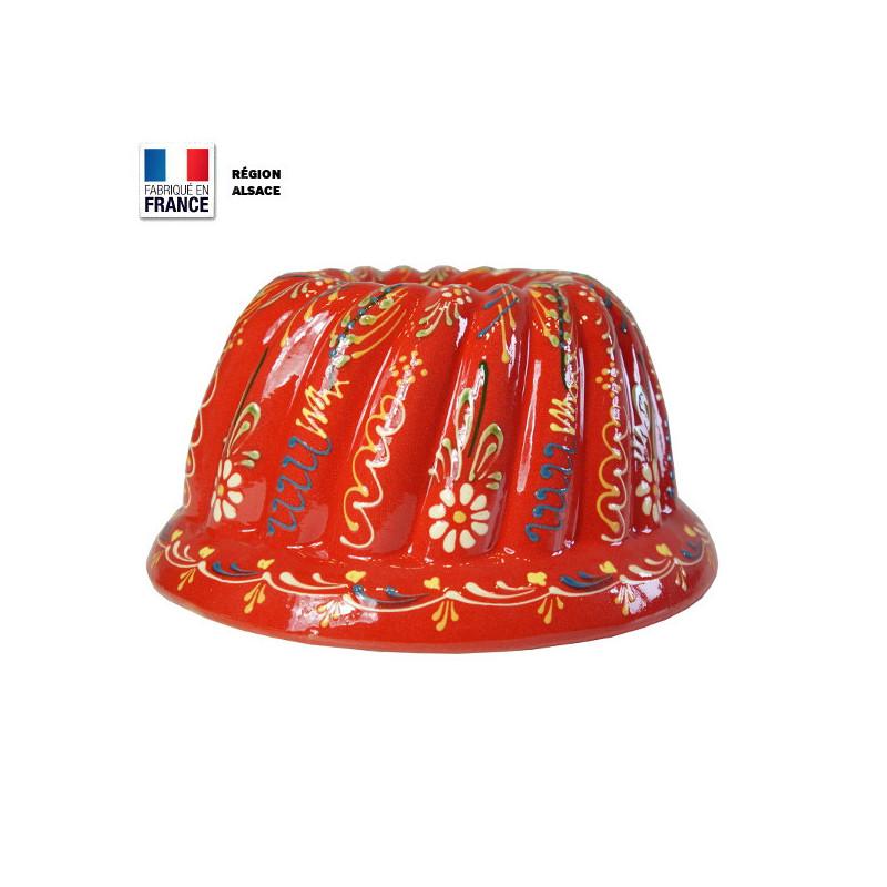Moule à Kouglof Rouge 26 cm avec Décor Marguerites