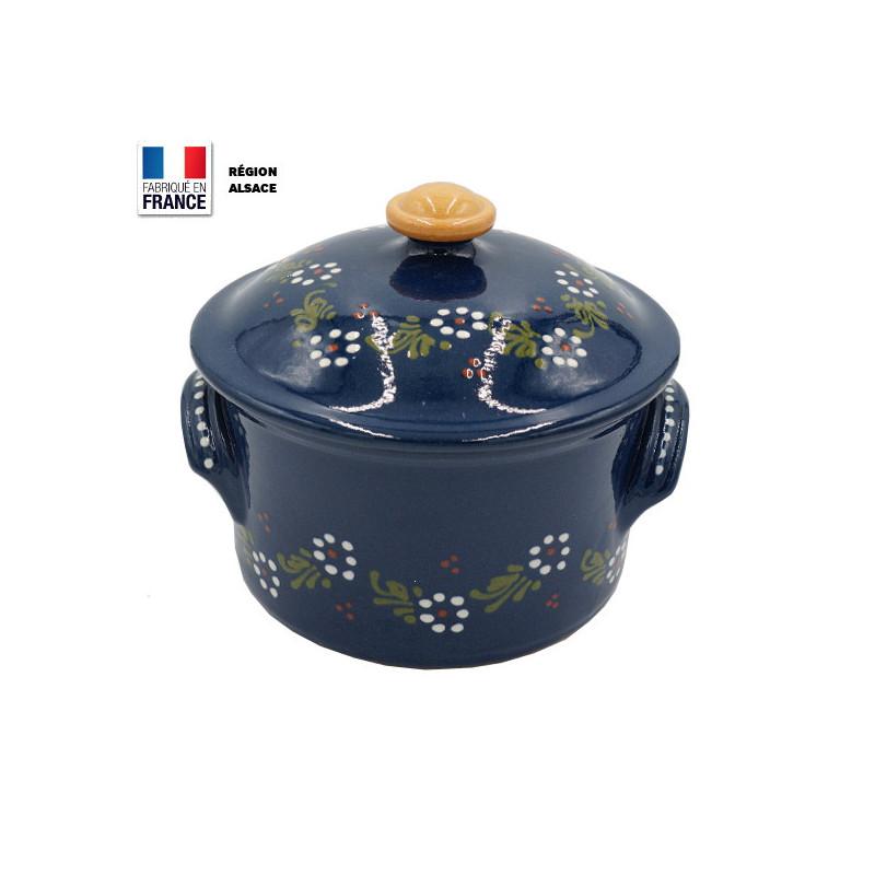 Cocotte à pain 20 cm Bleue  Fleur