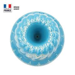 Moule à Kouglof Bleu Turquoise 24 cm Décor Coeur