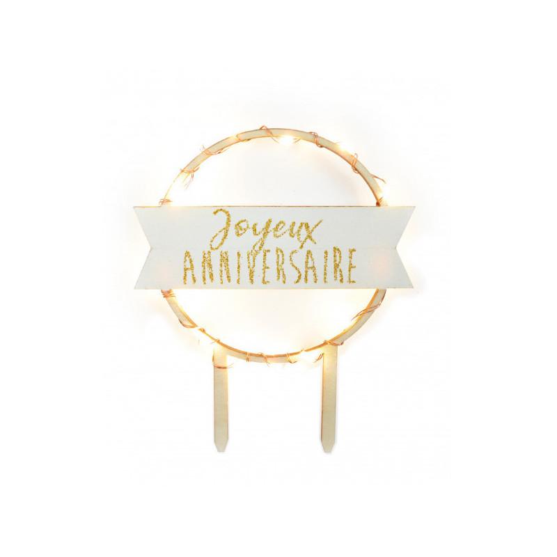 Cake Topper Joyeux anniversaire à LED