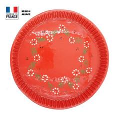 Moule à tarte Rouge Motif Fleuri